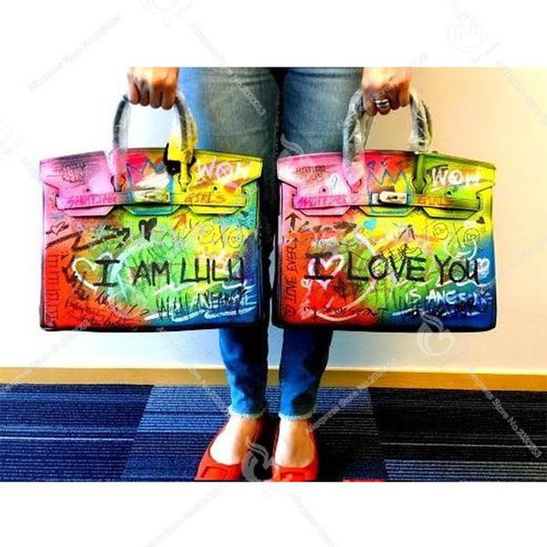 I LOVE YOU Art fashion Graffiti Hand Drawing Design Bags HandBag Luxury Bolsa Feminina Designer bag Women Tote Customize Gift