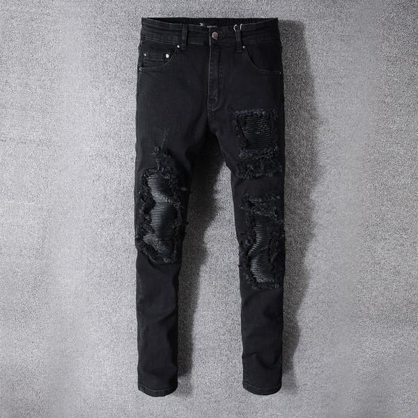 Jeans Hommes Designer Déchiré Homme Hip Hop Jeans Slim Denim Droite Biker Marque Ami Moto Jeans Nouveau