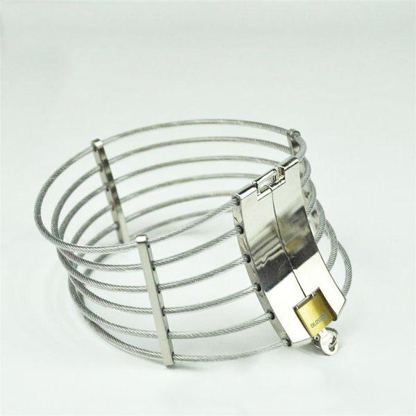 Les plus populaires en acier inoxydable fil collier collier collier contrainte contention posture bondage chasteté verrouiller BDSM jeux de sexe jouet