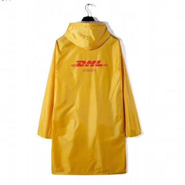 Hip Hop Vetements Raincoat Men Women 1:1 Oversized Rainproof Dhl Vetements Jackets Yellow Black Vetements Waterproof Windbreaker