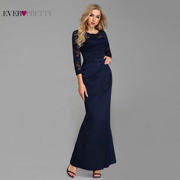 Alguna vez linda madre de la novia viste largo elegante con cuello en O 3/4 mangas vestido formal de encaje 07584 azul marino recto De De