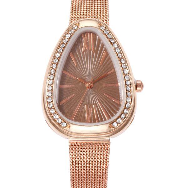 New Ladies Quartz Watch Creative Water Drop With Rhinestone Case Stainless Steel Strap Ladies Watch