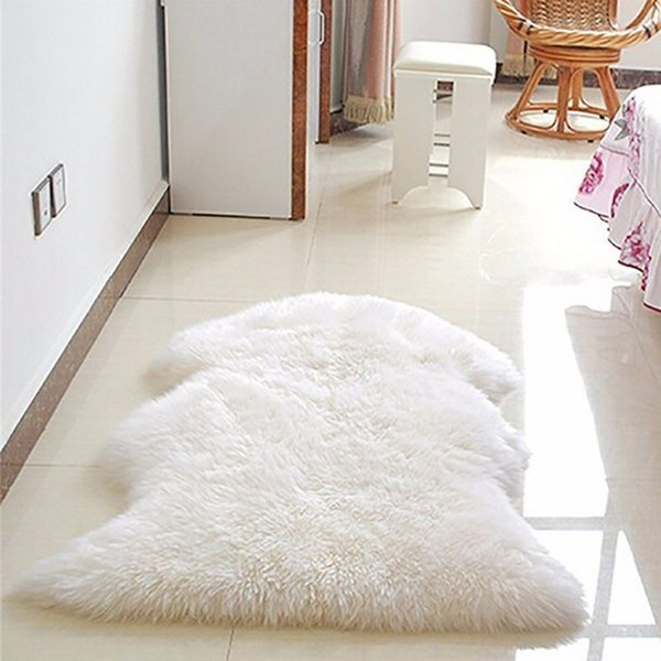 Soft Faux Sheepskin Rug Mat Carpet Pad Anti-Slip Chair Sofa Cover For Bedroom Home Decor Rugs for Bedroom Faux Fur Rug D19011201