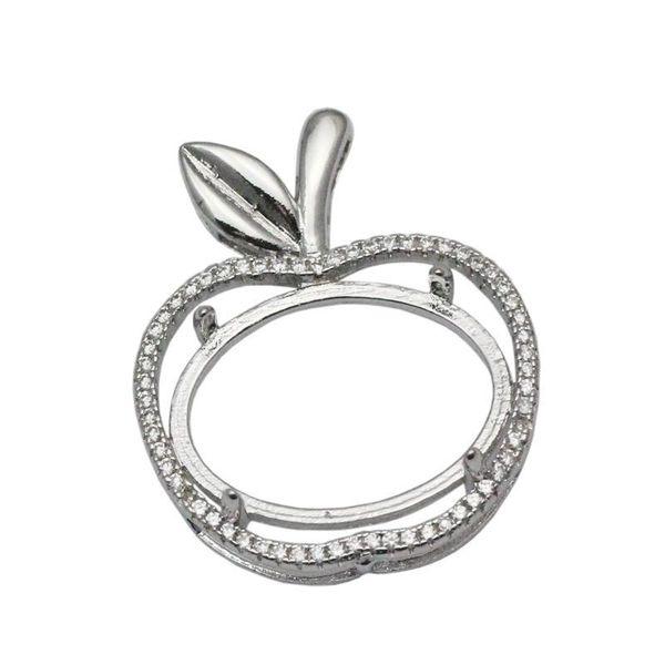 Beadsnice Apple, Semi Маунт Серебро 925 мотаться Подвеска Установка 14x19 Овальный кулон ожерелье Cut Установка кабошон Cameo Base ID 34053