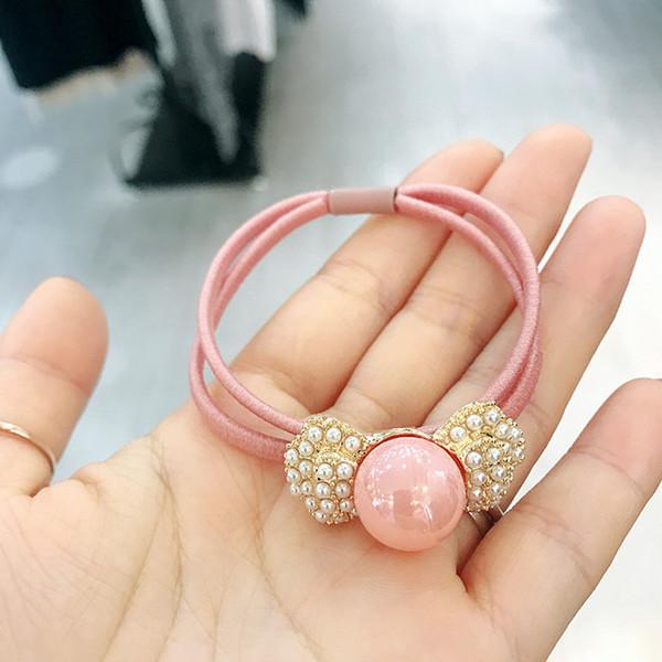 Korean Women Hair Accessories Ponytail Holder Cute Hair Rope Imitation Pearls Bow Elastic Band for Girl Fashion