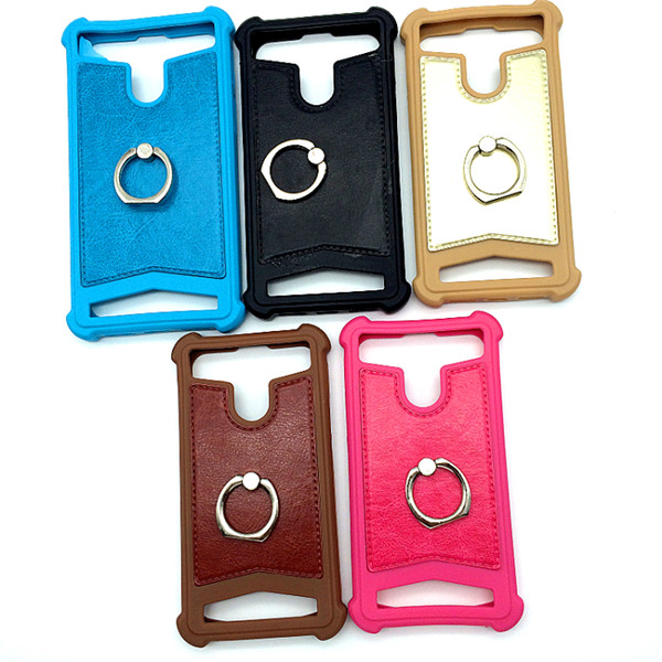 Universal Mobile Phone Case avec la couleur en silicone Béquille anneau en métal TPU Protecteur pour 4,0 4,5 5,0 5,5 pouces de téléphone portable