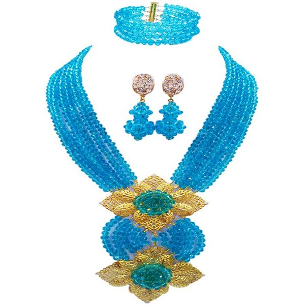 Women's Favorite Lake Blue Fashion African Style Anniversary Crystal Beads Necklace Sets 6C-HL-16