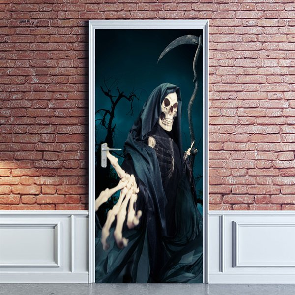 2Pcs/Set Newest Halloween Zombie Horror Poster Door Stickers Painting Wallpaper Wall Sticker Party Bedroom Home Decor