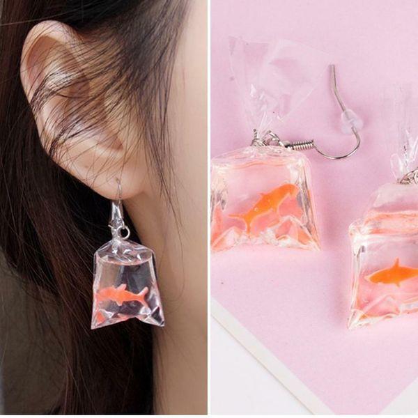 Unique Acrylic Goldfish Koi Fish Water Bag Drop Dangle Earring Fashion Earrings Christmas Gift Girl Women Jewelry Accessories