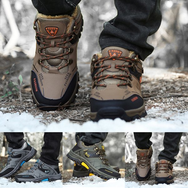 High Quality Men's Hiking Shoes Waterproof Leather Zapatos Breathable Mesh Hiking Boots Non-Slip Lace-Up Climbing Sneakers Shoe