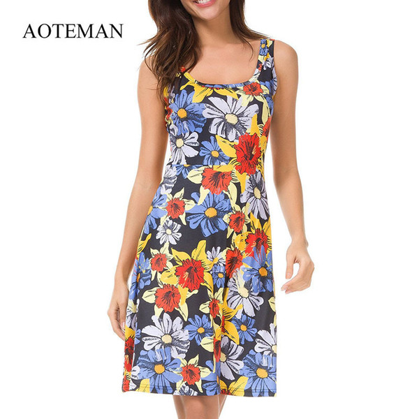 Aoteman Summer Sexy Elegante ufficio donne vestono casual O-Collo Abiti da donna Vintage stampa partito Club Dress Vestidos Verano 2018 Y19052901