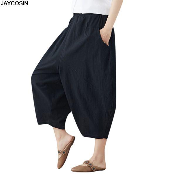 JAYCOSIN pants summer Women Ladies' literary solid color versatile elastic waist loose casual pant hot sale Polyester cloth 9524