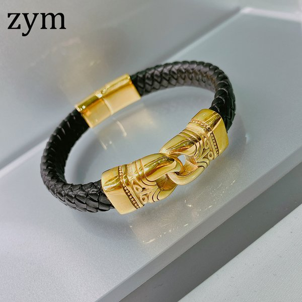 zymHot brand stainless steel lock Bracelet high quality leather bracelet punk style fashion retro men's Leather Rope