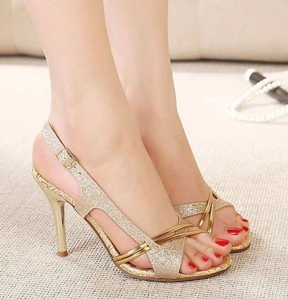 Toe Golden Wild2019 Temperament Hasp High Sandals Fine With Women's Shoes