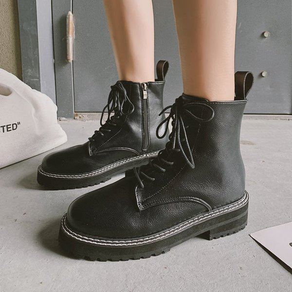 Martin bottes bottes à lacets chevalier moto botas britanniques épais bas fermeture à glissière courtes cheville botines femmes chaussures hiver femme 2019
