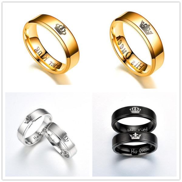 best selling Fashion Couple Rings Her King And His Queen Stainless Steel Wedding Rings For Women Men Size 5-12 Lover Jewelry