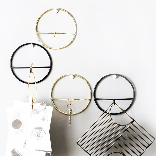 Nordic style Geometric Shape Gold Iron Art Storage Hook Minimalist Wall Key Holder Home Decoration Accessories Coat Wall Hanger