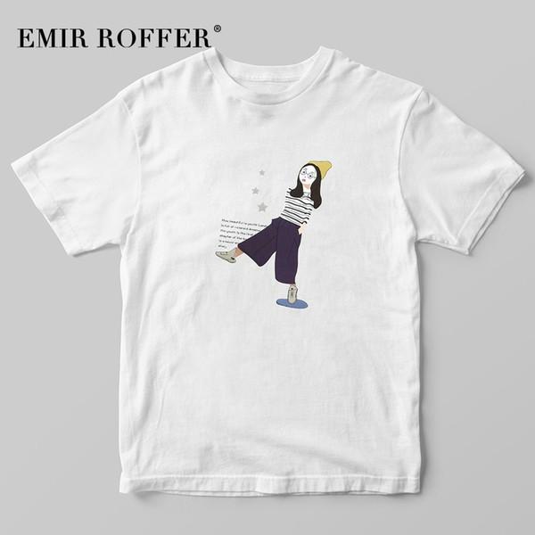 EMIR ROFFER Ulzzang Korean Shirt Frauen Mode Mädchen Druck T-shirt Weibliche Harajuku Kawaii T-shirt Sommer Graphic Tees Tops