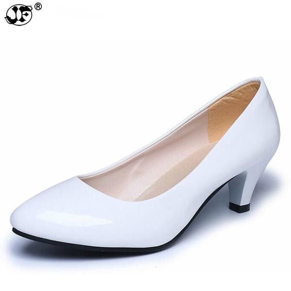 2019 chaussures d'été robe bout pointu femme cuir verni amende avec variété de chaussures à talons moyens femmes chaussures 35-40 996