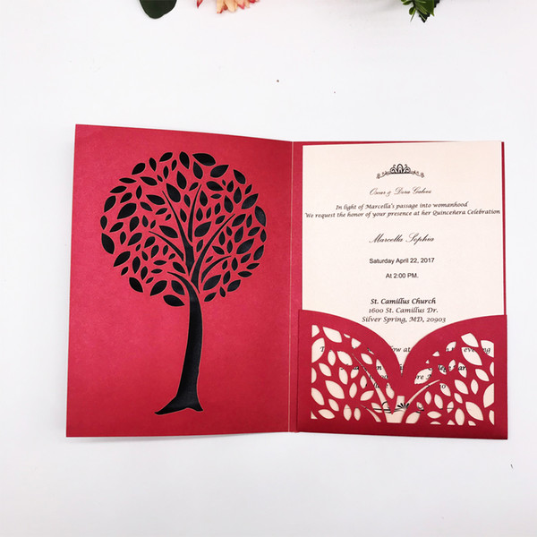 Hollow Tri Folding Type Simple Wedding Invitation Card Exquisite Tree Lace Design Invitation Cards Party Engagements Supplies Free Wedding Invitation