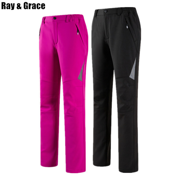 RAY GRACE Damen Winter Softshell Hosen Herren Wasserdicht Winddicht Fleece Outdoor Hosen Wandern Angeln Hosen Reflektierende Frau