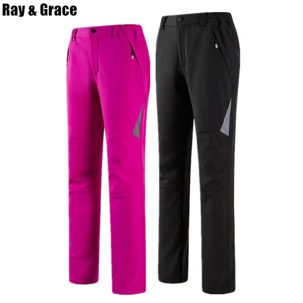 RAY GRACE kadın Kış Softshell Pantolon Erkekler Su Geçirmez Rüzgar Geçirmez Polar Açık Pantolon Yürüyüş Balıkçılık Pantolon Yansıtıcı Kadın