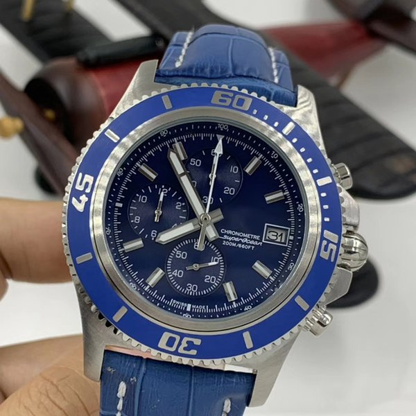 High-Tech-Design Blaue Lederband Superocean Chrono Quartz 660ft Indexauswahltag Blau Dial Mens-Uhr-Uhr Explorer Armbanduhr