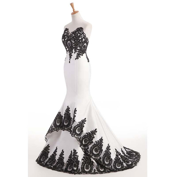 2018 Elegant Black Lace Mermaid Evening Dresses Sweep Train White Satin Prom Dresses Custom Sweetheart Party Formal Gowns Robe De Soiree Australia