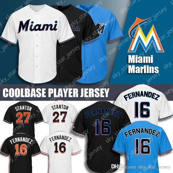 best website ef545 bafe2 2019 2019 New Miami Jerseys Marlins Majestic Coolbase Jersey 27 Giancarlo  Stanton Jersey 16 Jose Fernandez Jersey From Sky_star_jersey, $22.77 | ...