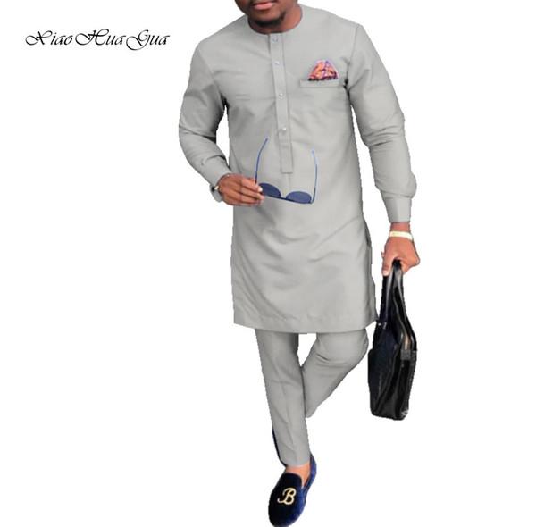 Tradicional Africano Imprimir Dashiki batik para homens camisas casuais e conjuntos de calças Pant Plus Size Africano Roupas Masculino Set WYN809