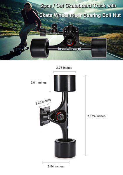 PUENTE 2pcs / Set Skateboard Truck with 4 Skateboard Wheels Riser Pad ABEC - 9 Bearing Bolt Nut For Mini Cruiser Longboard