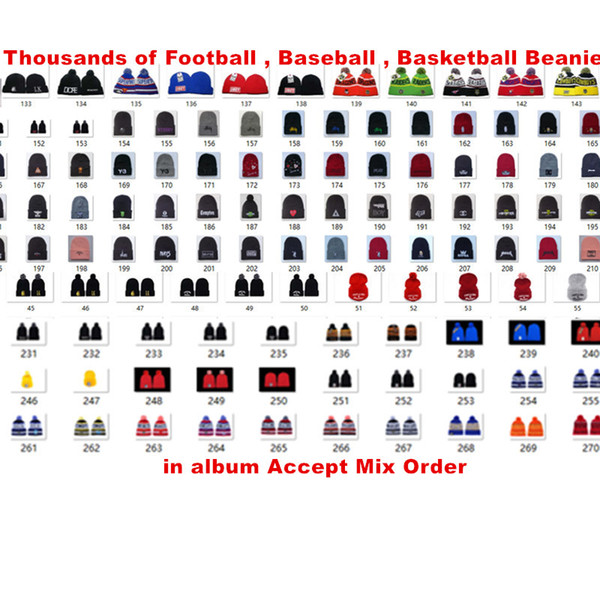 top popular Wholesale Team Beanies Caps Pom Sports Hats Mix Match Order 18 Teams All Caps in stock Knit Hat Top Quality Hat More 5000+Styles 2019