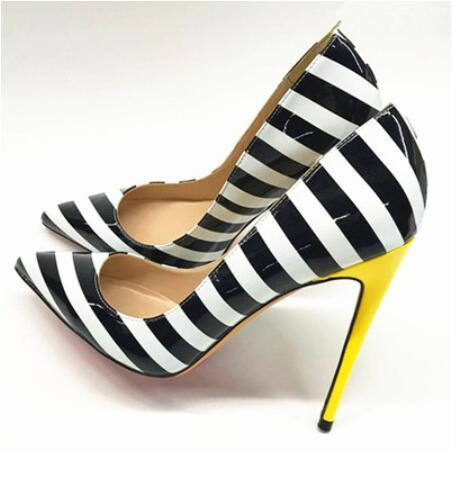 Zebra Stripes High Heel Shoes Woman Pointed Toe Patent Leather Patchwork Yellow Heeled Pumps Women Fashion Party Shoes