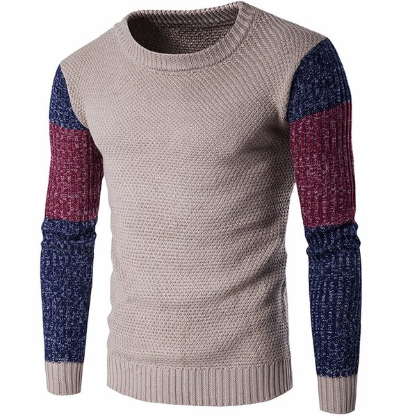 Men Casual Vintage Patchwork Sweater Long Sleeve O-Neck Navy Khaki Slim Knitted Sweaters Pullovers Jumpers Warm M-2XL