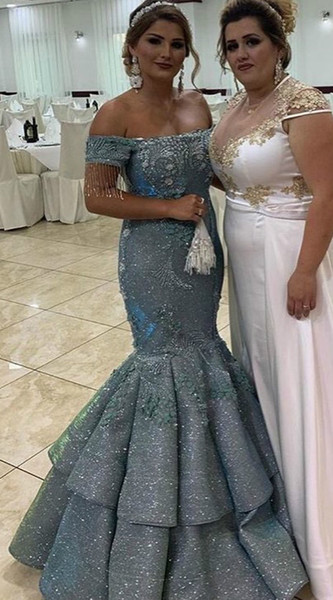 Aso Ebi 2019 Arabic Grey Sparkly Evening Dresses Lace Beaded Mermaid Prom Dresses Sequined Formal Party Bridesmaid Pageant Gowns ZJ394