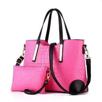 crocodile pattern big bag European and American fashion tide ladies shoulder bag mother bag two-piece wholesale