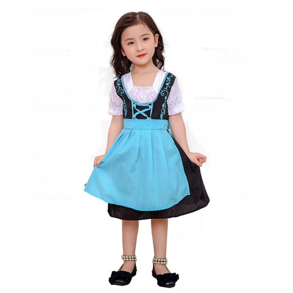 Blue German Beer Maid Outfits Carnival Children Costumes Bavarian Oktoberfest Dress Dirnal Beer Girl Halloween Costume For Kids