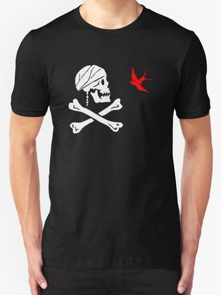 The Flag of Captain Jack Sparrow Men's T shirt Black top free shipping t-shirt RETRO VINTAGE Classic t-shirt