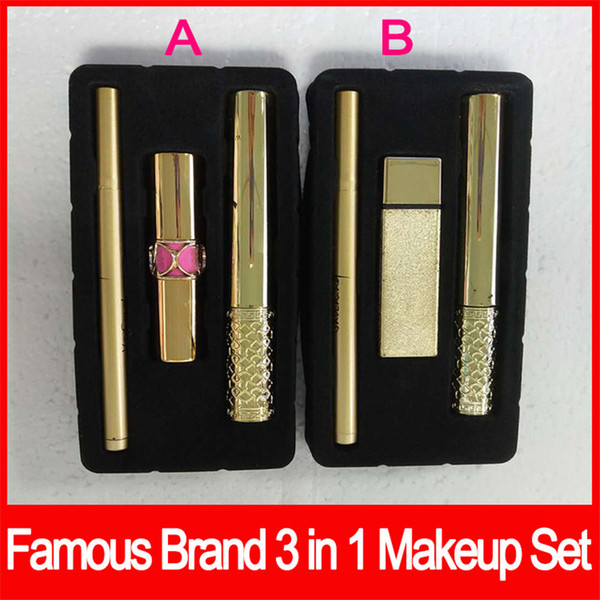 Hot New Marca Definir Maquiagem 3pcs / Set Mascara Batom Delineador 3 em 1 SET 2 estilos Set A / B Cosméticos DHL frete