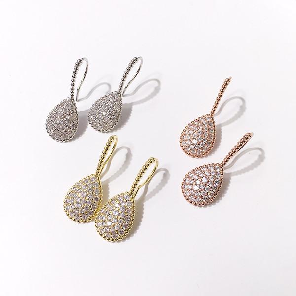 Estilo exquisito Dama de la moda Bronce lleno Diamante en forma de gota Borde 18k Chapado en oro de compromiso Pendientes de boda Gancho de oreja 3 Color