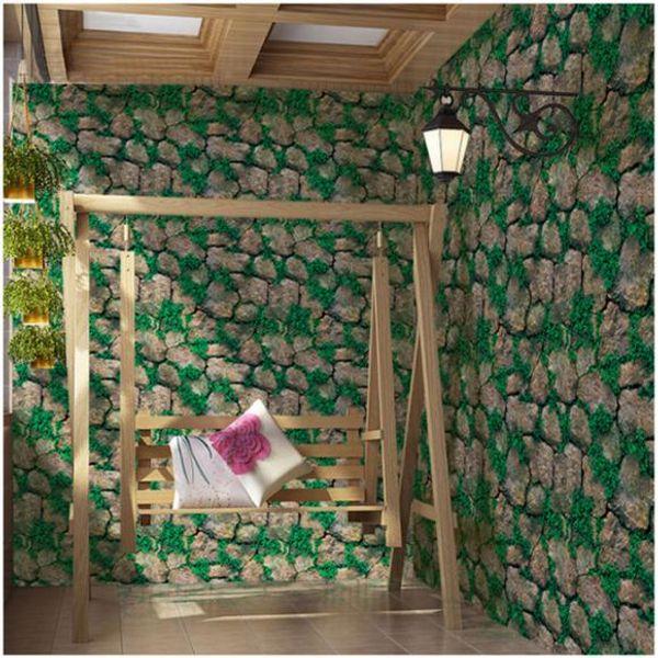 Self-Adhesive wallpaper PVC Deep Embossed 3D Brick Wallpaper Simulated rock Paper Wallpaper Roll For store decoration Wall