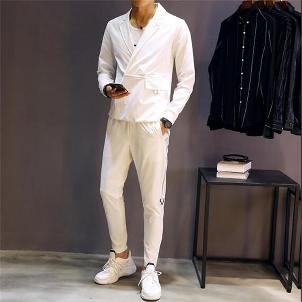 2019 Autumn Men Set Shirt +Pant Casual Slim Fit Two Piece Set Men White Elastic Waist Pant Pullover Shirt