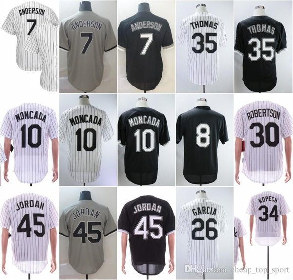 Maillots cousus # 7 Anderson 8 Jackson 10 Moncada 26 Garcia 30 Robertson 34 Kopech 35 Thomas 45 Michael 2019 Nouveau Maillot de Baseball Blanc Noir