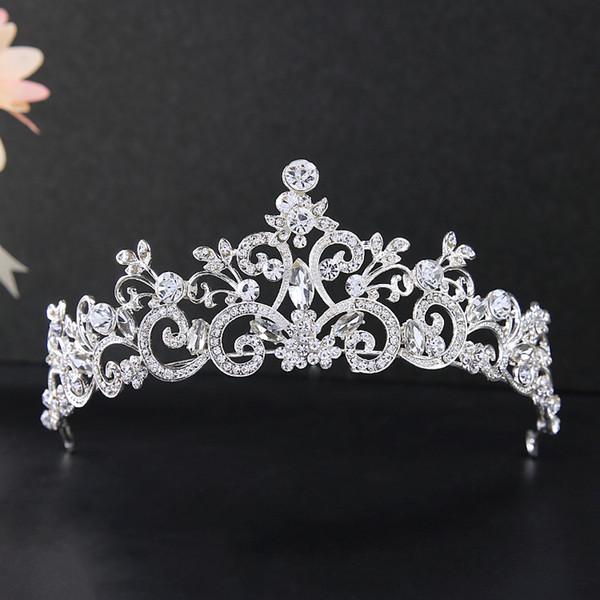 Moda Noiva Headwear Estilo Coreano Acessórios Do Cabelo Do Casamento High-end Strass Nupcial Da Coroa Da Princesa Tiaras