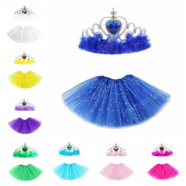 best selling Ballet Fancy Pettiskirt Girls Tutu Skirts With Crown Princess Star Glitter Sequin Stage Dancewear Costume Summer Tulle Mini Dresses