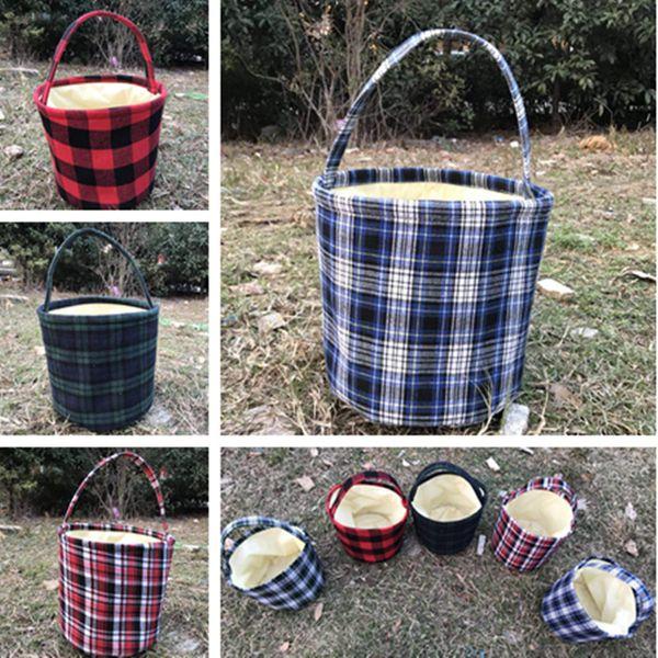 Plaid Easter Bucket Baskets Buffalo Plaid Handmade Reversible Fabric Storage Basket for Party Candy Bags Kids Handbags Picnic Bucket Bag