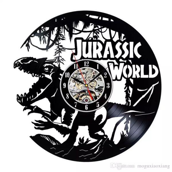 Acheter Jurassique Monde Vinyle Horloge Murale Moderne Décor à La Maison Artisanat Creative Cadeau à La Main Enfants Chambre Garçons Chambre Horloge