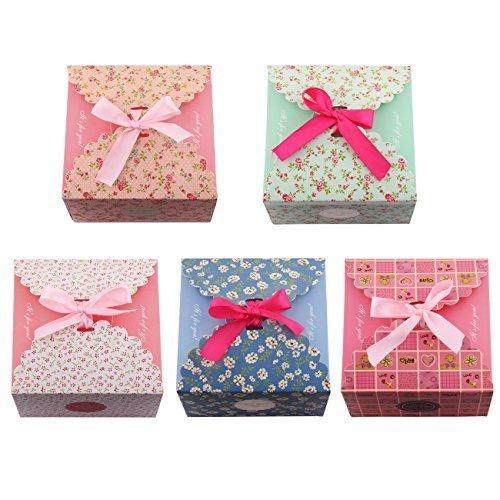5pcs Gift Boxes Decorative Treats Boxes Cookies Goodies Candy Christmas Birthdays Holidays Weddings Jewelry Packaging Display
