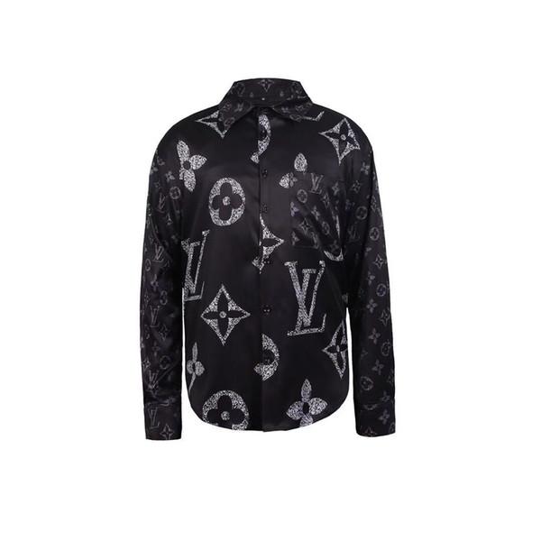 Designer Slim Fit Camicie Medusa Men ss = 2019 3D oro stampa floreale Mens Dress Camicie maniche lunghe Business Casual Camicie Maschi vestiti