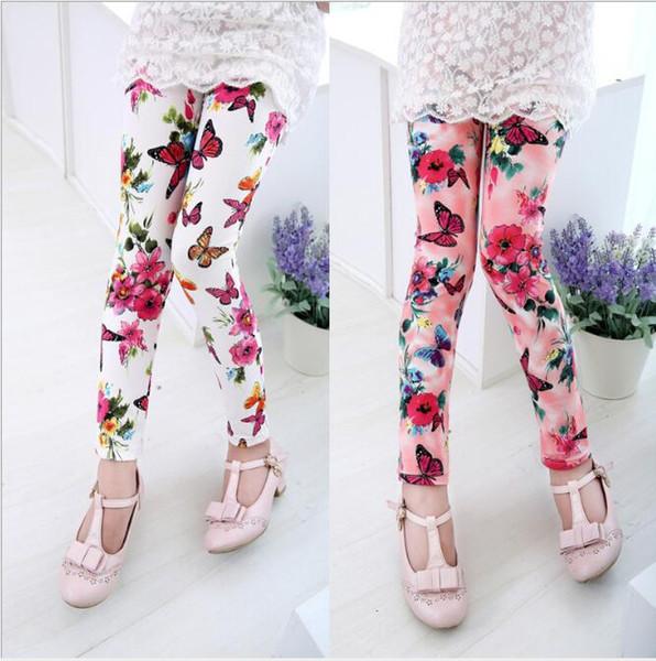 5 Colors Girls Floral Printed milk silk Leggings Tights Korean Children Baby legging Casual Trousers Pant kids boutique designer clothes